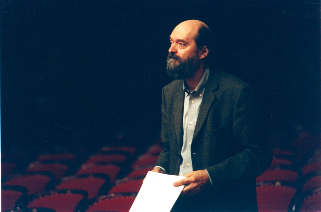 Warsaw Autumn 2002, Arvo Pärt during a rehearsal at the National Philharmonic Hall, photo by Jan Rolke