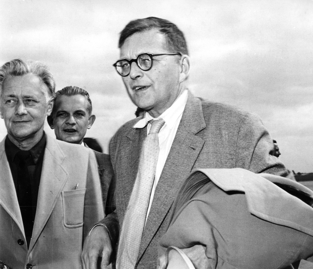 Dmitri Shostakovich at the airport (1959), photo by CAF