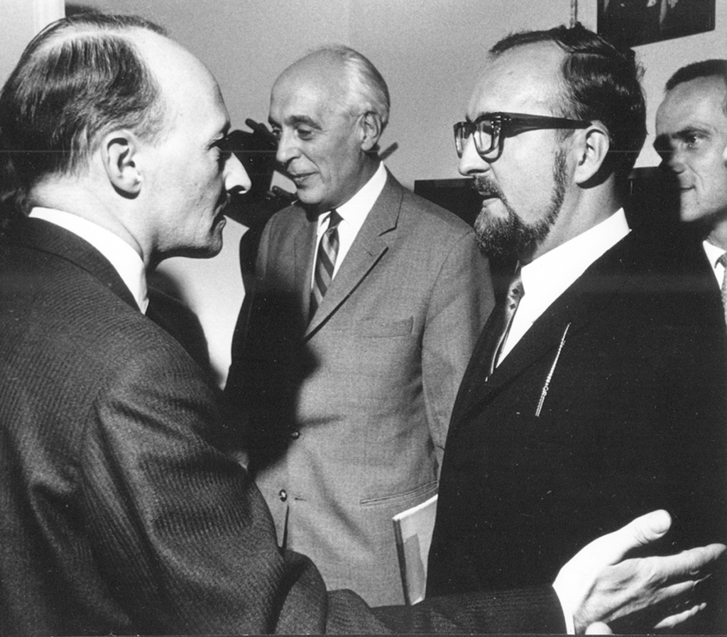 Witold Lutosławski, Constantin Regamey and Krzysztof Penderecki after the performance of Penderecki's Passion (1966), photo by Andrzej Zborski