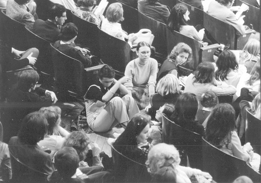 The audience filled the hall even sitting on the floor during the inaugural concert in 1974, photo by Andrzej Zborski